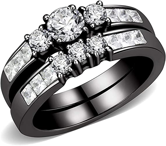 Wedding Engagement 3 Ring Set 5mm Brilliant CZ Stainless Steel