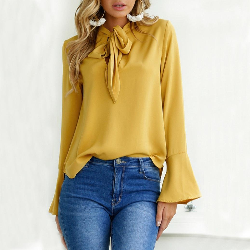NREALY Womens Solid Casual Flare Sleeve V Neck Blouse Tops Tee Hoodie
