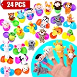 24 Pieces Finger Puppets Filled Surprise Eggs - 2.36 Inches Bright Colorful Easter Eggs - Cloth Velvet Puppets - Easter Theme Party Favor,Classroom Prize Supplies