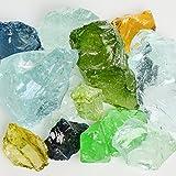 My Fireplace Glass - 50 Pound Fire Glass with Fire Pit Glass - Small, 1/4 - 1/2 Inch, Jewel Mix
