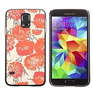 LECELL--Funda protectora / Cubierta / Piel For Samsung Galaxy S5 SM-G900 -- Peach Vignette Wallpaper Flowers --