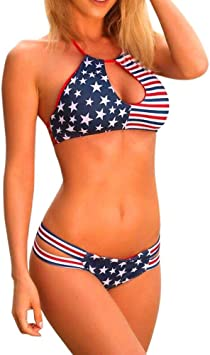 LILICAT® Bandera Americana de Las Mujeres Bikini de Vendaje Conjunto Bikini Push-up Bañador Ropa de baño, 2 Piezas Sexy Tops Bra + Tanga (Rojo, S): Amazon.es: Deportes y aire libre