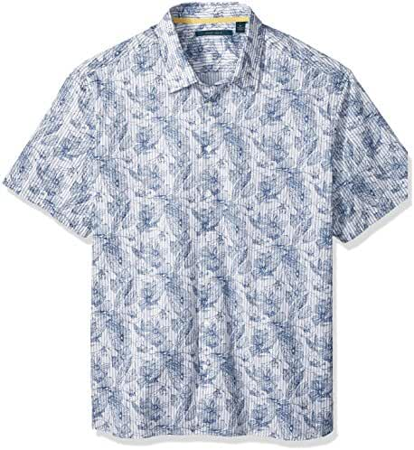 Perry Ellis Men's Big and Tall Tropical Sketched Floral Stripe Shirt