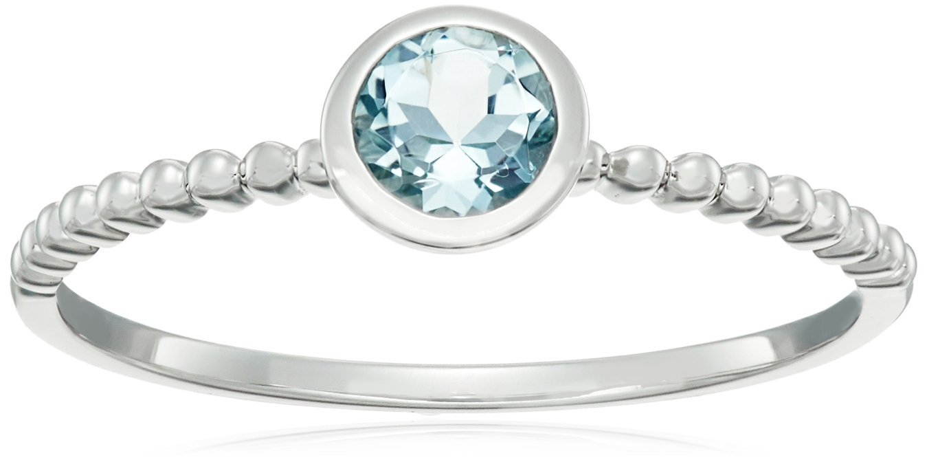 10k White Gold Aquamarine Round Solitaire Beaded Shank Stackable Ring, Size 7