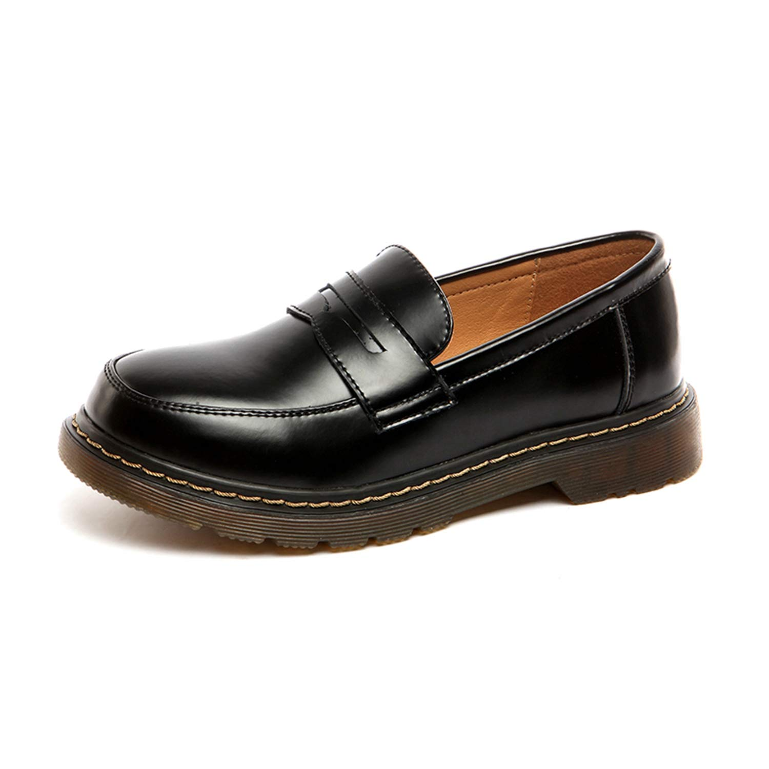 Marvin Cook-Retro British Oxford Shoes for Women Genuine Leather Flats Slip On Shoes Round Toe Loafers Oxfords