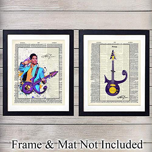 Prince and Guitar Wall Art Prints - Set of Two - Perfect Gift for Rock n Roll Fans and Guitar Players - Steampunk Chic - Cool Home Decor - Ready to Frame (8x10) Vintage Photos