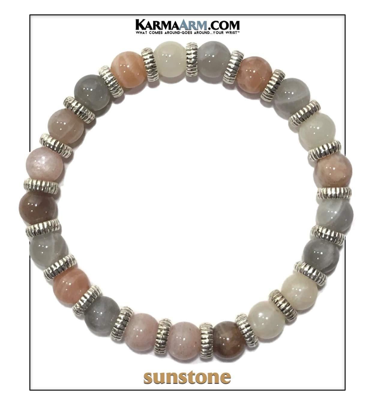 KarmaArm Meditation Bracelet | Self-Care Wellness Zen Mantra Bead Wristband Yoga Jewelry | Vista | Sunstone (7.5)