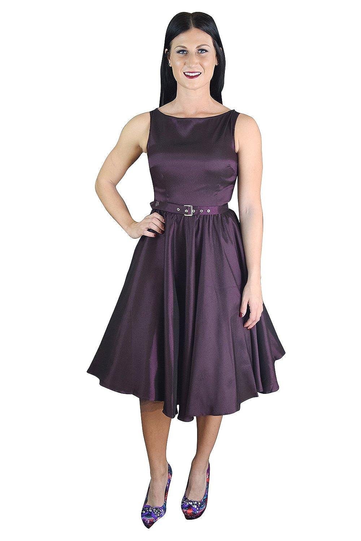 Amazon.com: Elegant 60\'s Vintage Style Purple Satin Flare Swing ...