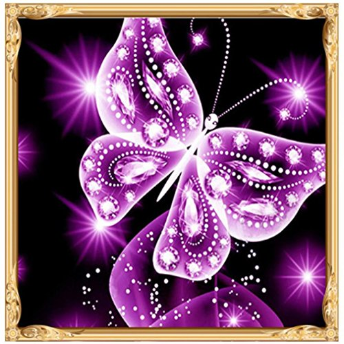 DIY 5D Diamond Embroidery, Lisin Diamond Embroidery Paintings Rhinestone Pasted DIY Diamond Painting Cross Stitch,Butterfly (Purple, 25x25cm) -
