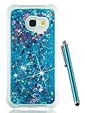 CAIYUNL Glitter Bling Clear Protective Liquid Sparkle Phone Case Cover Women Men Kids Shockproof Design Slim TPU Silicone for Samsung Galaxy J7 V/ J7 Perx/J7 Prime/J7 Sky Pro/J7 2017/ Galaxy Halo-Blue