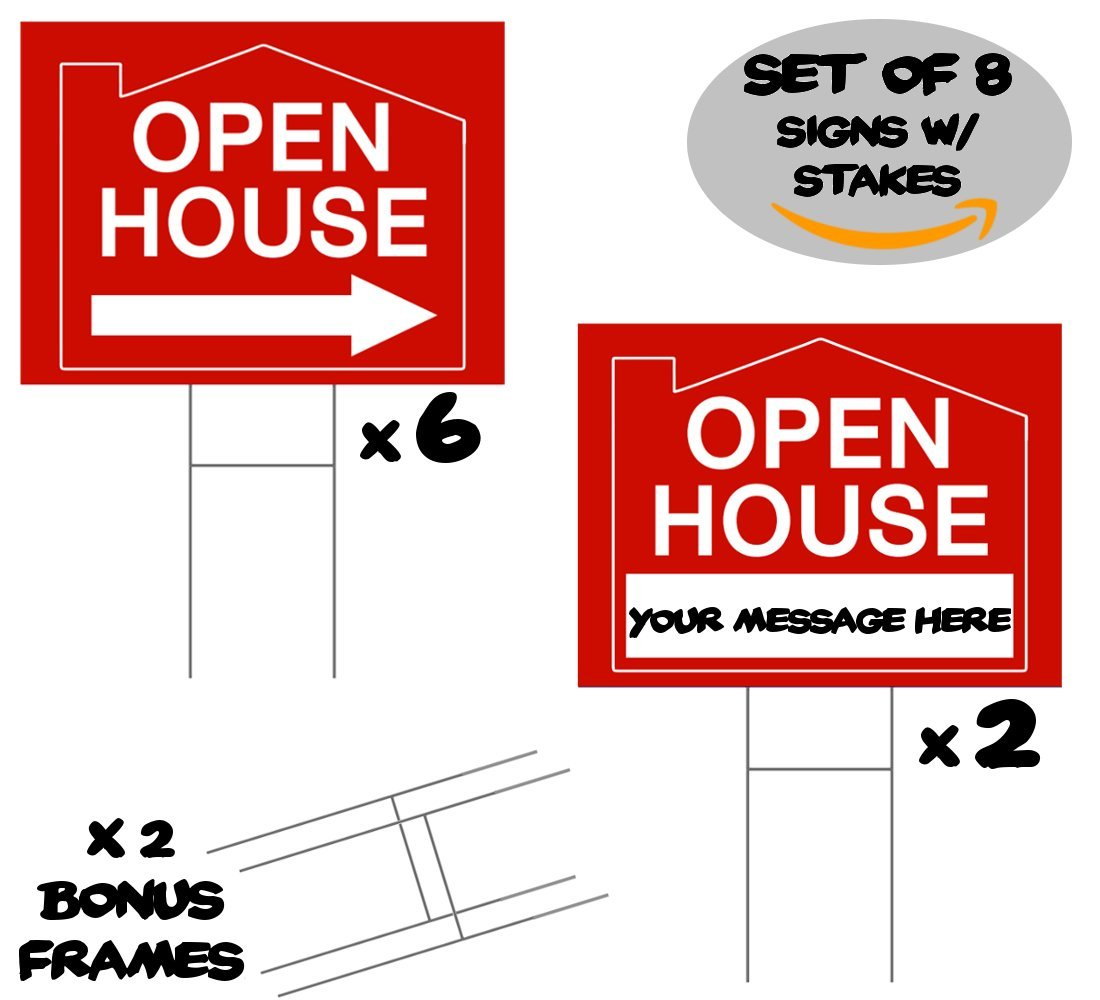 Amazon.com : 8 Open House Signs For Real Estate With H Frames. 6 ...