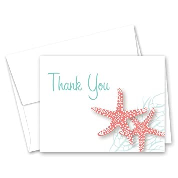 Amazon Com 50 Starfish Beach Wedding Shower Thank You Cards Coral