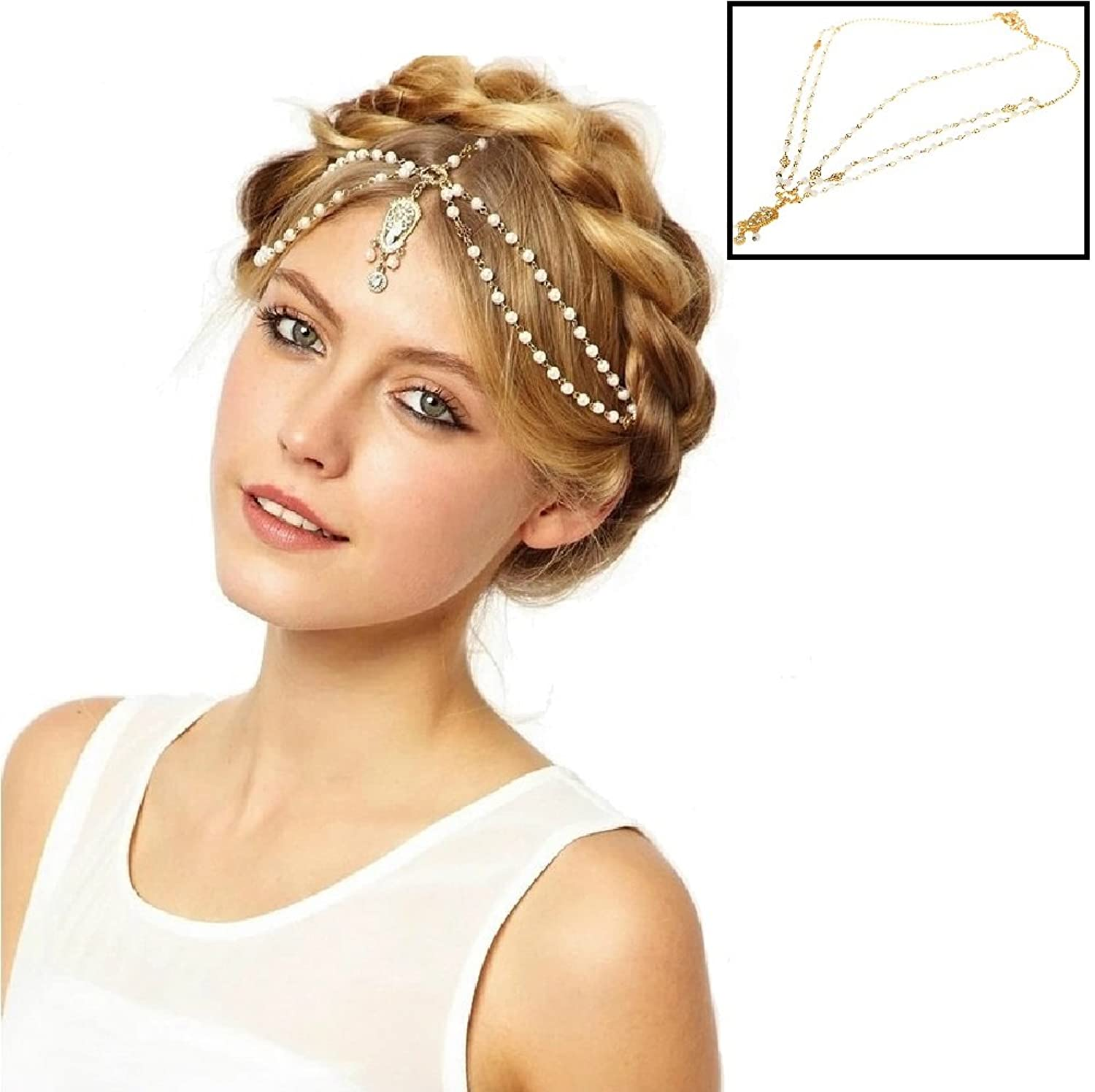 Amazoncom Gold Tone Indian Style Hair Pendent Circular Head Chain