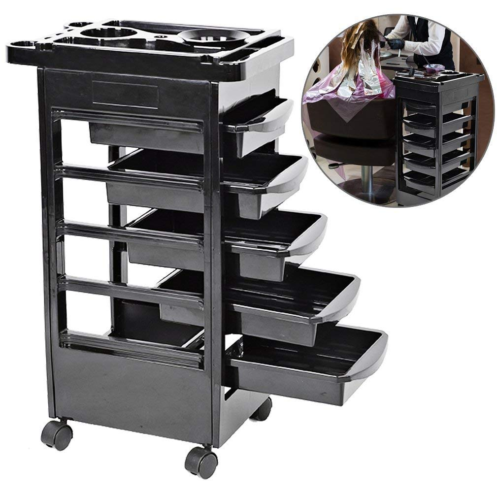 Hair Salon Instrument Storage Cart Adjustable Height Trolley Beauty Tools, Salon SPA Beauty Hairdressing Rolling Trolley Cart with 5 Drawers Hair Dryer Tray Tool, Home Spa Hairdressing Rolling Trolley