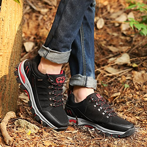 Men and Womens Outdoor Waterproof Hiking Shoes Outdoor Breathable Backpacking Shoes Black KIbrt