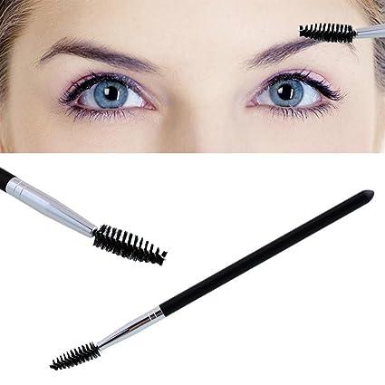 Msmask Varita de rímel de pestañas Peine de pluma Cepillo espiral ceja Metal Negro Mejorar Maquillaje
