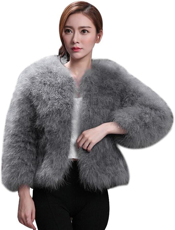 FRAUIT Mantel Damen Pelz Jacke Frauen Strauß Feder weicher
