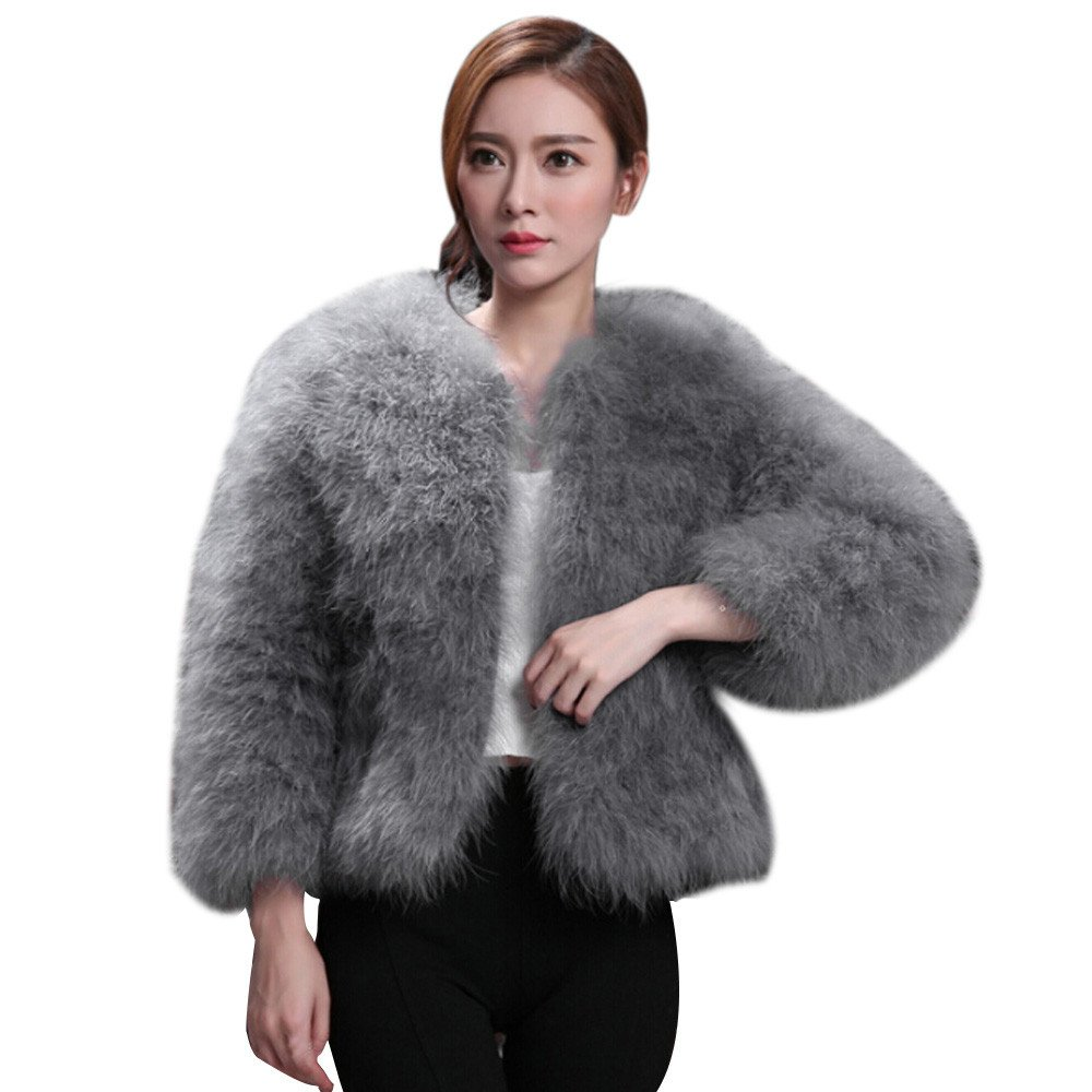 Kulywon Women Faux Fur Ostrich Feather Soft Fur Coat Jacket Fluffy Winter Xmax