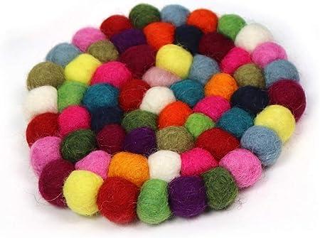 10cm Nepalese Handmade Woolen Multi-Colors Felt Ball Round Tea Coaster Trivets