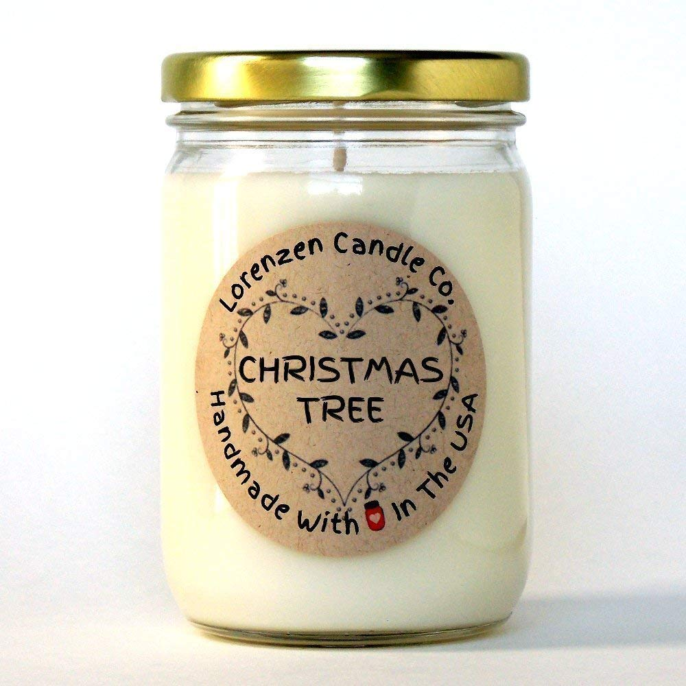 Christmas Tree Soy Candle, 12oz   Handmade in the USA with 100% Soy Wax