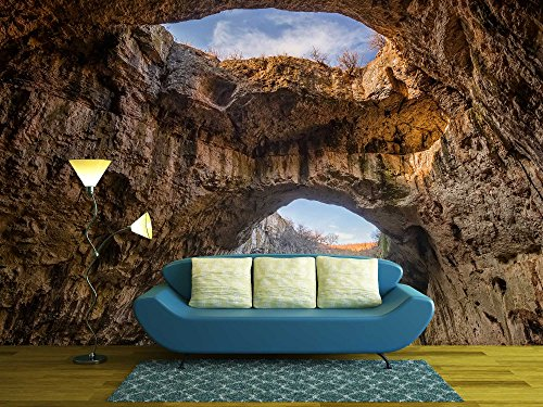 wall26 - the Cave - Magnificent View of the Devetaki Cave, Bulgaria - Removable Wall Mural | Self-adhesive Large Wallpaper - 100x144 inches
