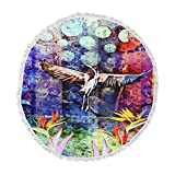 KESS InHouse Alyzen Moonshadow Birds of Paradise Multi Multicolor Blue Digital Round Beach Towel Blanket