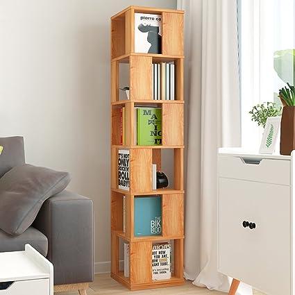 JXBOOS Swivel BookshelfFloor Rack Simple Bookcase Student Creative Bookshelves Multi Functional Living Room
