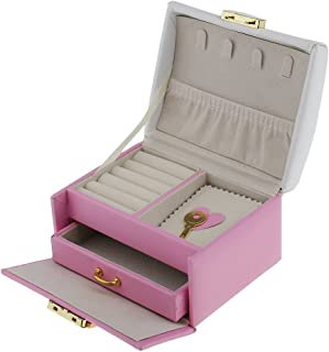MonkeyJack Cute Bowknot Jewelry Box Included Drawer with Security Lock for Travel Home Portable for Lady Girls