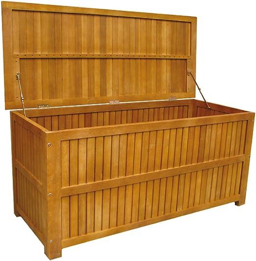 Baúl Baúl de almacenaje madera de acacia AC805051 exterior jardín luz: Amazon.es: Hogar