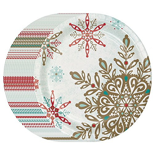 Performa Peaceful Snow Holiday Disposable Dinner Paper Plates 10.25