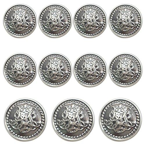 Shuang Dong 11 Piece Vintage Antique Brass (Bronze) Metal Blazer Button Set - King