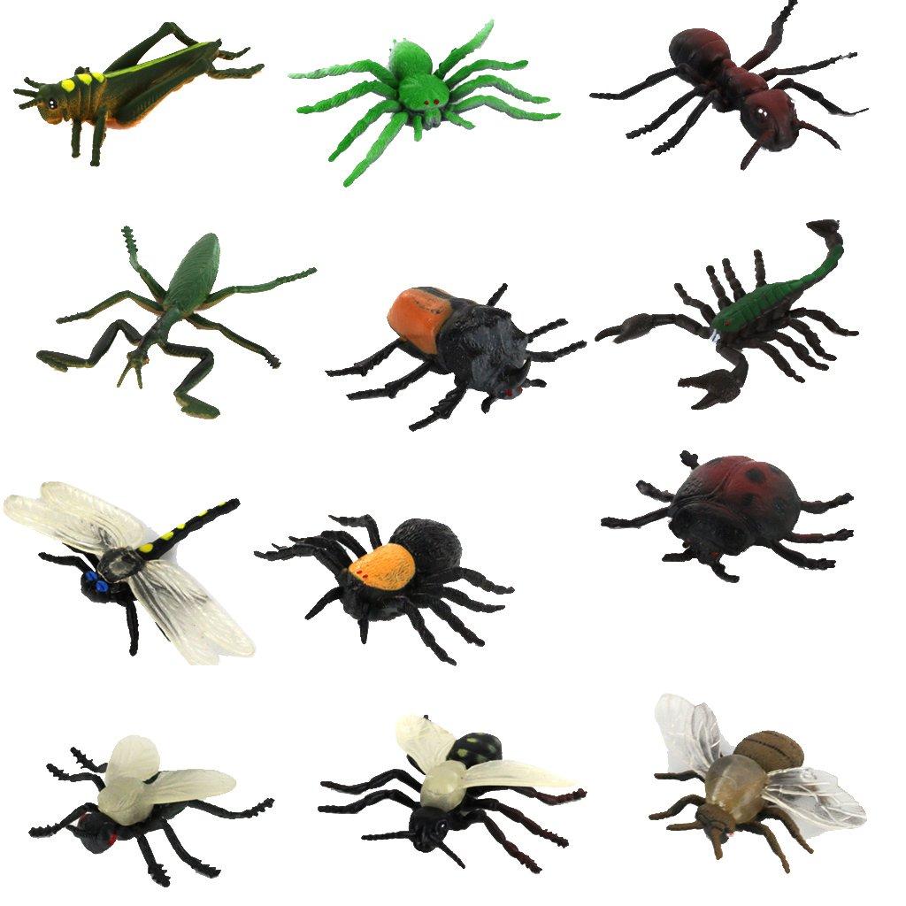 Lot de 12pcs Insectes en Plastique Figurines Animaux Jouet Générique 15013003