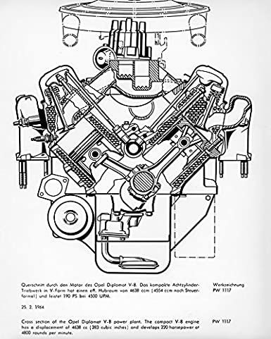 Amazon Com 1964 Opel Diplomat V8 Engine Cutaway View Factory Photo