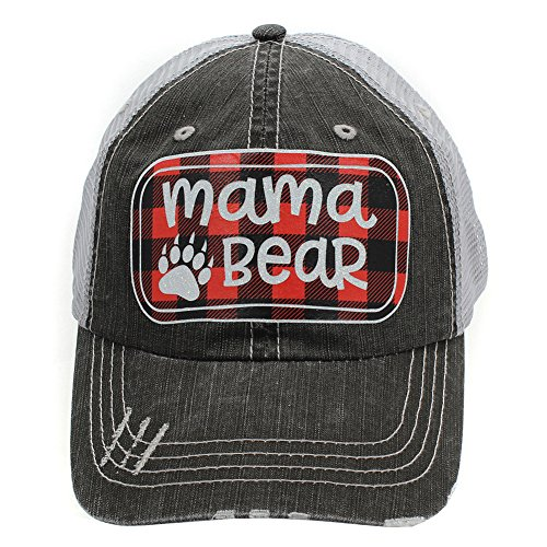 Mama Bear Paw Print Buffalo Plaid Trucker Style Baseball Cap Hat Red