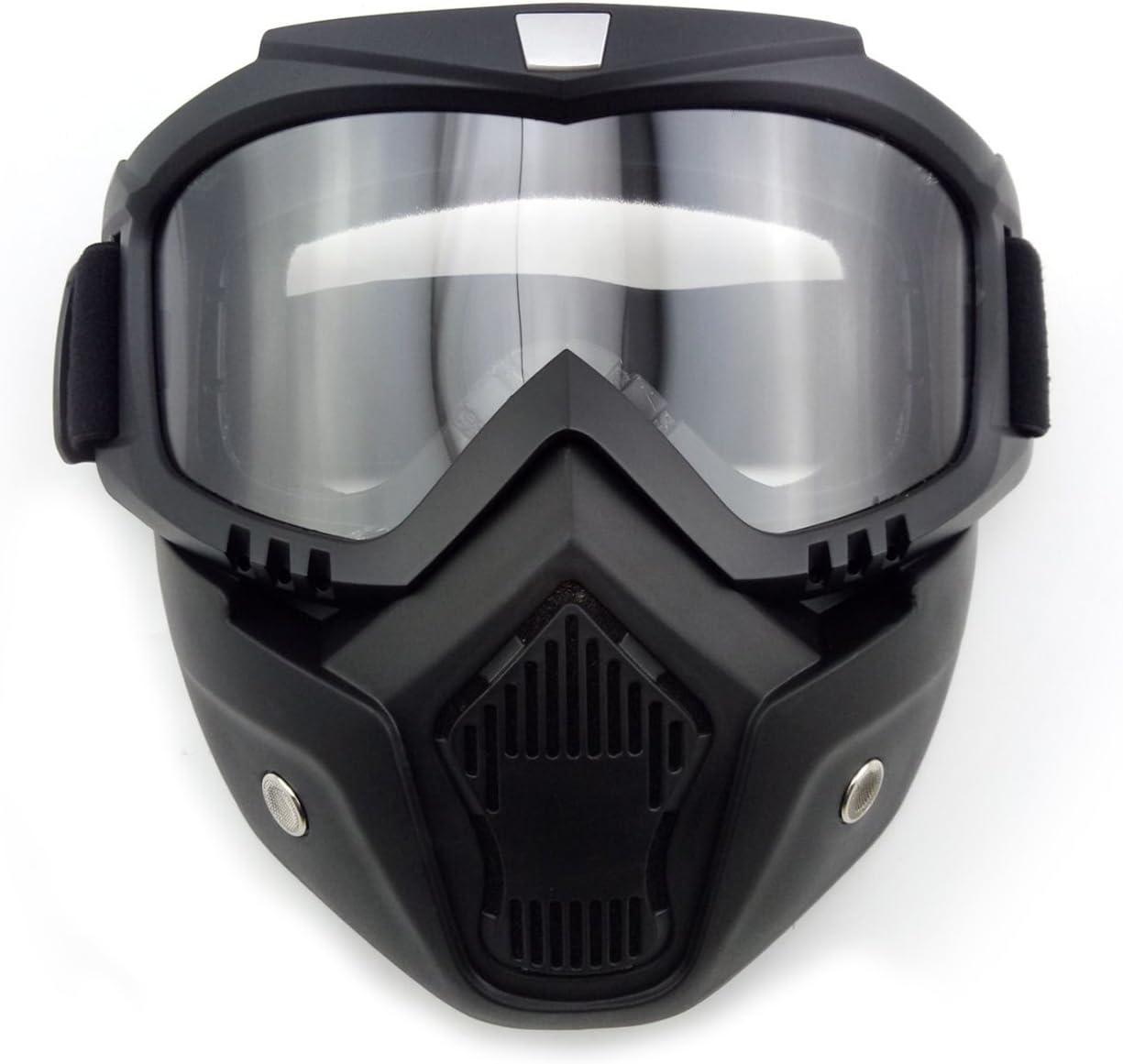 Anzene Máscara de casco de motocicleta Máscara de combinación desmontable gafas protectoras (Transparente)