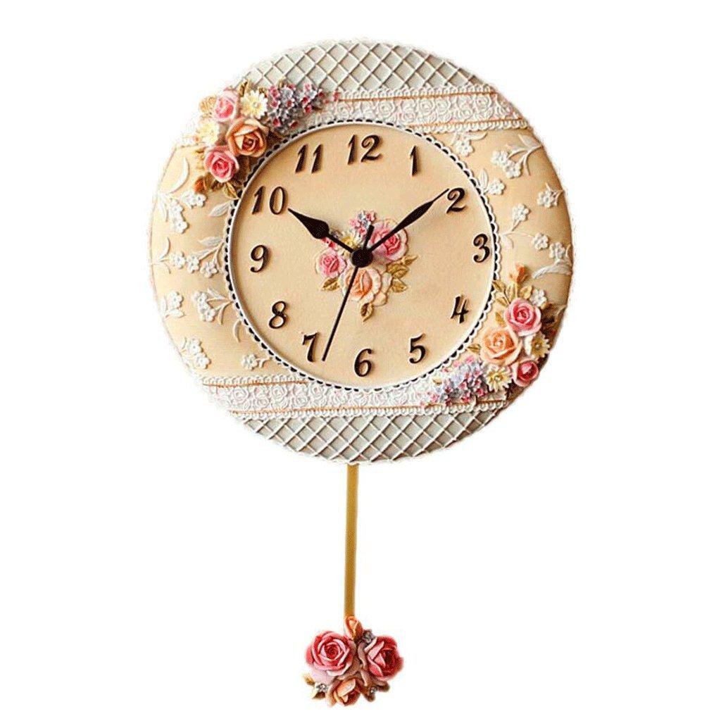 GAOLILI クリーム色のエンボスローズウォールクロック庭の装飾クリエイティブ時計 B07C3VM6G8
