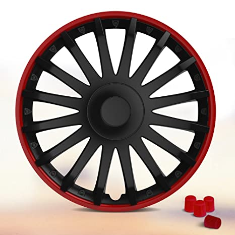 Universal – Tapacubos Crystal (Negro de color rojo). Tapacubos apto para casi todos