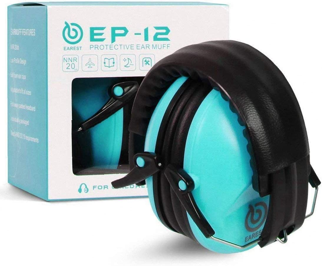 EAREST Protection Ear Muffs, Noise Reduction Safety Ear Muffs Shooting Earmuff with A Useful Carring Bag + Belt, NRR 20DB Professional Ear Defenders for Adults and Children - Blue - -