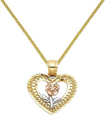 14k Yellow White Gold CZ Flower Heart Pendant Height 15 MM Width 20 MM