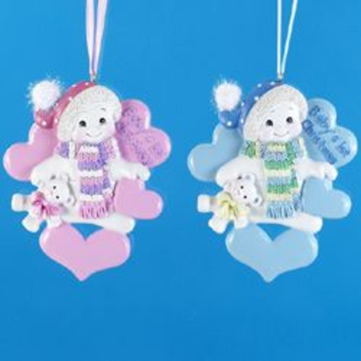 Club Pack of 12 Snowman Baby Boy & Girl Christmas Ornaments for Personalization