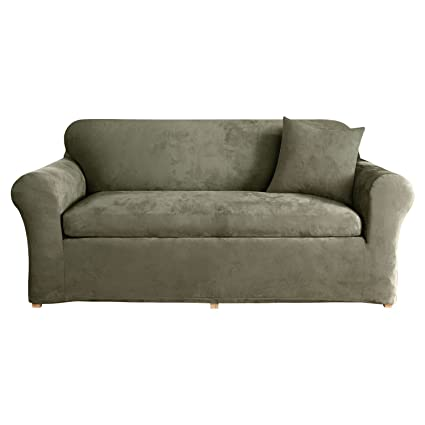 Amazon.com: Sure Fit SF37532 3Piece Stretch Suede - Dark Green, Sofa ...