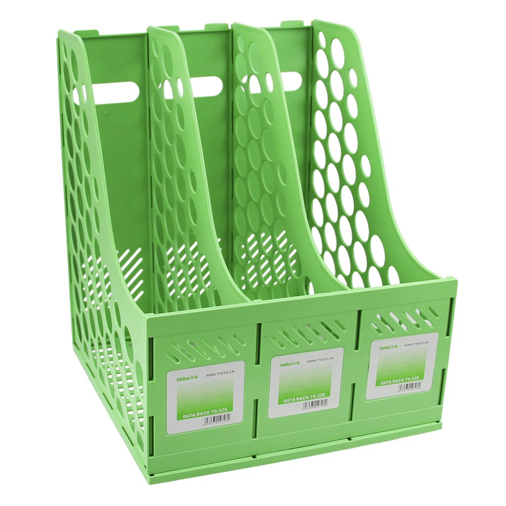 Starsource Office School Home Desk Plastic Magazine Literature File Holder Rack Case Box Crate Organizer,3 Slots,Green/Pink