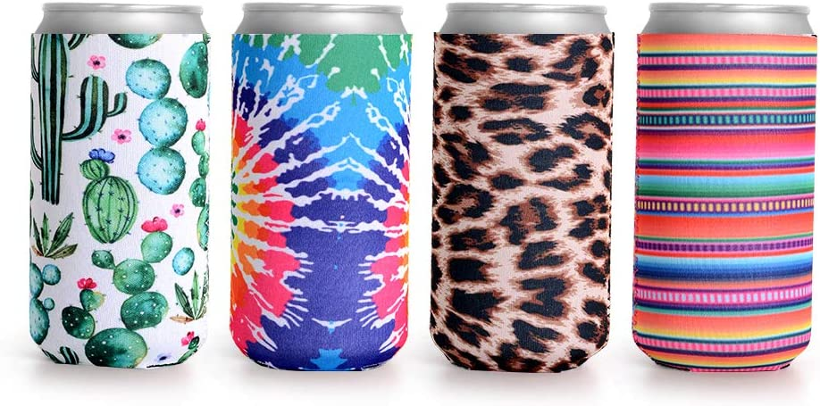 Slim Beer Can Cooler,Haomacro Beer Can Coolers Sleeves Cooler Insulated Neoprene Reusable Skinny Can Cooler Fit 12oz Skinny Tall Energy Drink Beer Holder for Party Beach
