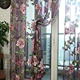 Best Uphome Home Curtain Panels - FAVOLOOK Curtain Tulle Voile, Peony Floral Voile Sheer Review