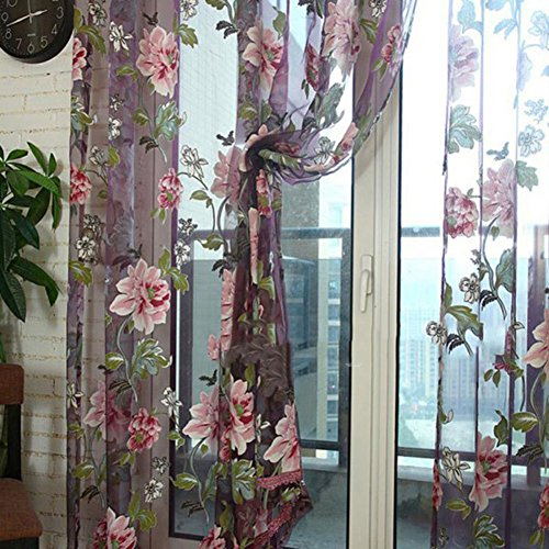 FAVOLOOK Curtain Tulle Voile, Peony Floral Voile Sheer Drape & Scarf Valances Rom Panel for door, window and partition or wall decoration, Wine Red (Peony Window)