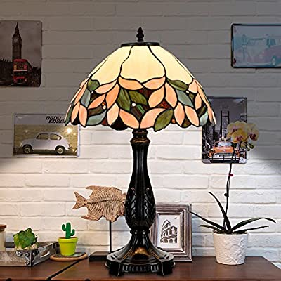 "Cloud Mountain Tiffany Style 14"" Lampshade Table Lamp Victorian Stained Glass Desk Lamp Floral Home Decor Lighting"