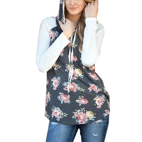 Ranboo Mujeres Impresión Floral Patchwork Suelto Sudadera Otoño Pullover Con Capucha