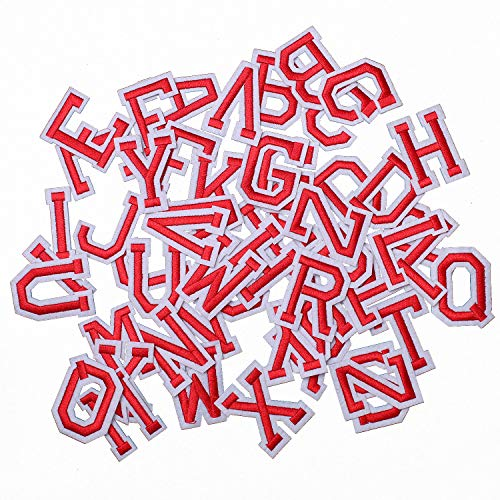 AXEN 52pcs Alphabet A to Z Patches, Iron on Sew on Letters for Clothes, Classic Red