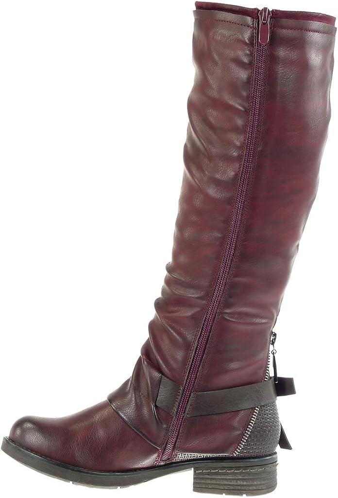 Chaussure Mode Bottine Botte Motard Glam Rock Souple Femme Fermeture Zip Boucle Bicolore Talon Haut Bloc 11.5 CM Angkorly