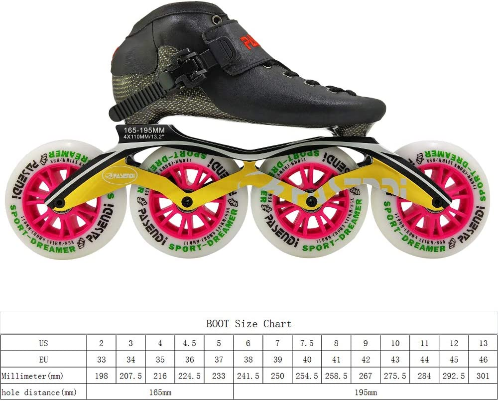 PASENDI Carbon Fibre Speed Skate Shoes Roller Adult Rollerblades for Women and Men Childrens Inline Skates Shoes 4 Wheels Red,Blue